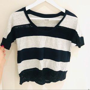 Crop Tee With Lace Size XS NEW